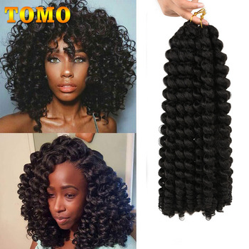 TOMO Jumpy Wand Curl Crochet Braids 8 12Inch Jamaican Bounce Curly Hair Ombre Synthetic Crochet Braiding Hair Extensions 20Roots 1