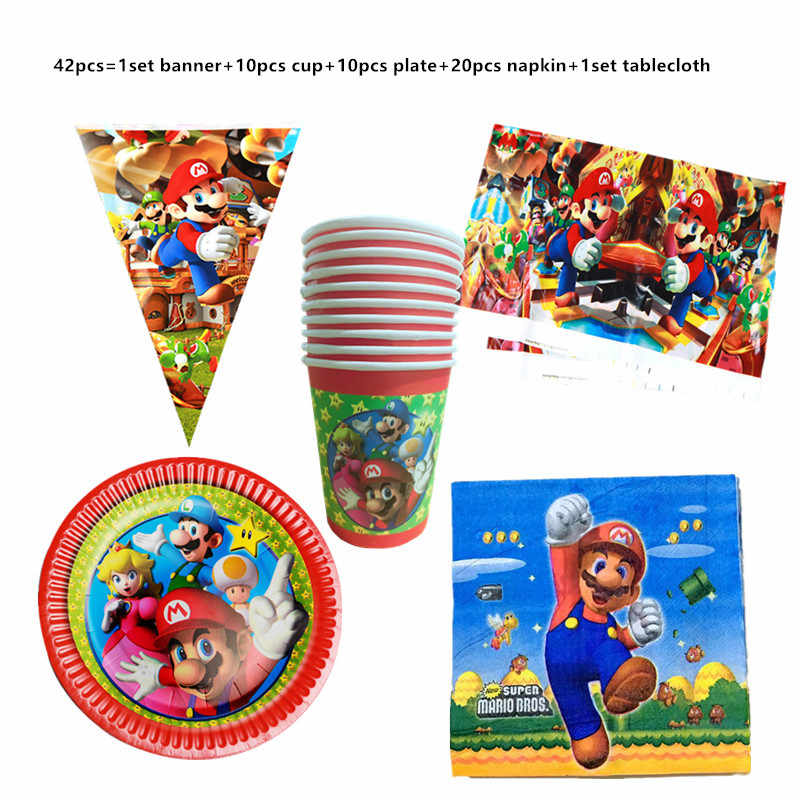 42/81Pcs Mario Bros Birthday Party Decoratie Benodigdheden Set Super Mario Servetten Tafelkleed Cups Platen Wegwerp Servies Set