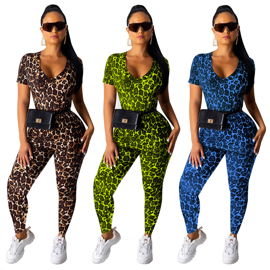 HAOYUAN Leopard Two Piece Set Women Tracksuit Festival Clothing Short Sleeve Top+Pant Sweat Suits 2 Piece Outfits Matching Sets