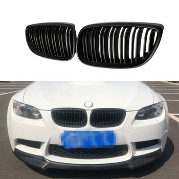 Carbon ABS Front Bumper Kidney Twin Fins Sport Racing Grill Grille for BMW E92 LCI E93 318i 320i 328i 335i Coupe 2 DOOR image