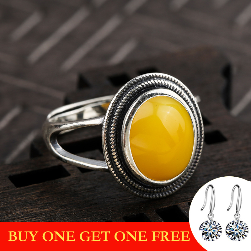 10*8mm NOT FAKE S925 Sterling Silver Ukraine Amber Rings Exaggerated Rings Health Rich Lithuania Retro Handmade