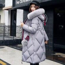 Abrigo de piel grande de invierno Parka engrosada mujer costura delgada larga abrigo de invierno abajo de algodón señoras abajo Parka plumón chaquetas globo 2019