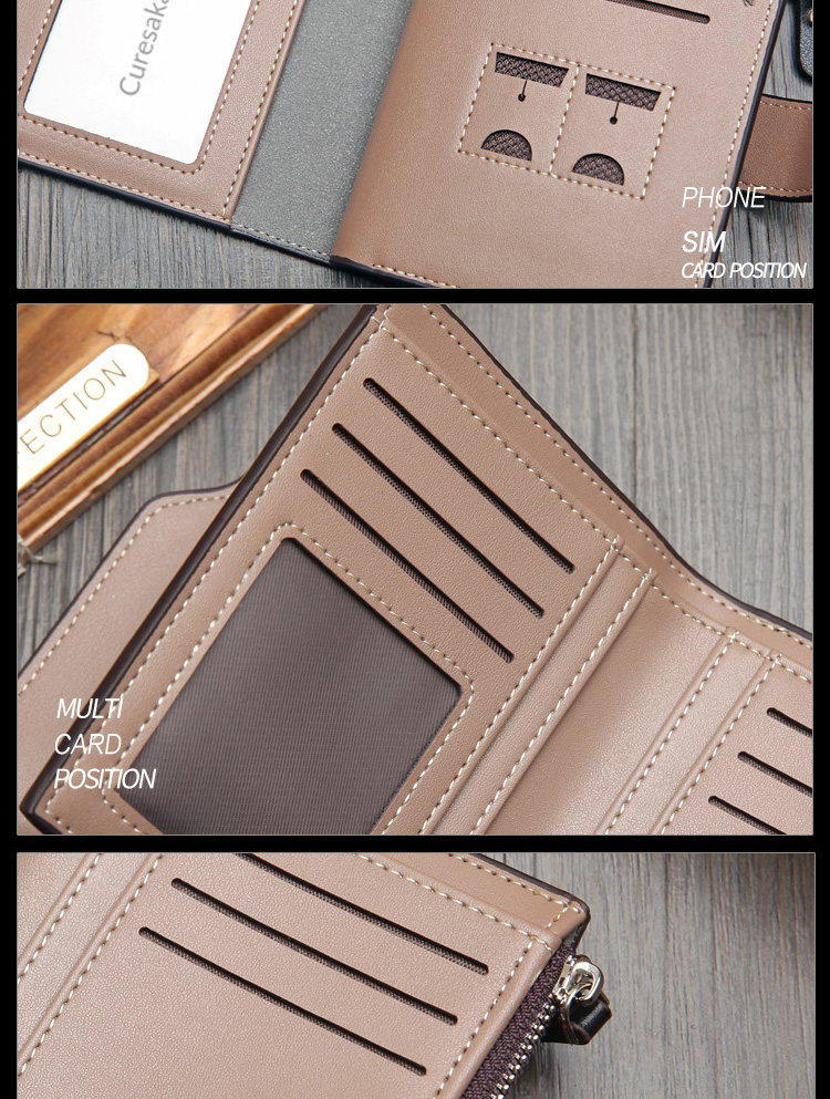 H607ad0d63441466fa2624ae95c981509G - New Korean casual men's wallet Short vertical locomotive British casual multi-function card bag zipper buckle triangle folding