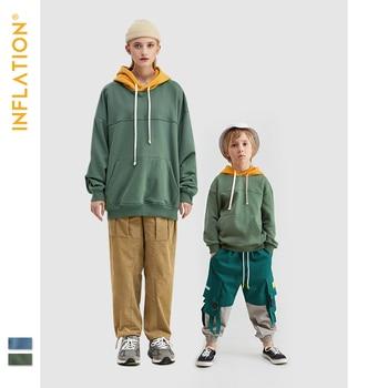 INFLATION Passenden Familie Outfits Kinder Hoodies Familie Aussehen Hoodies Übergroßen Streetwear Familie Hoodies Vater Sohn Kleidung