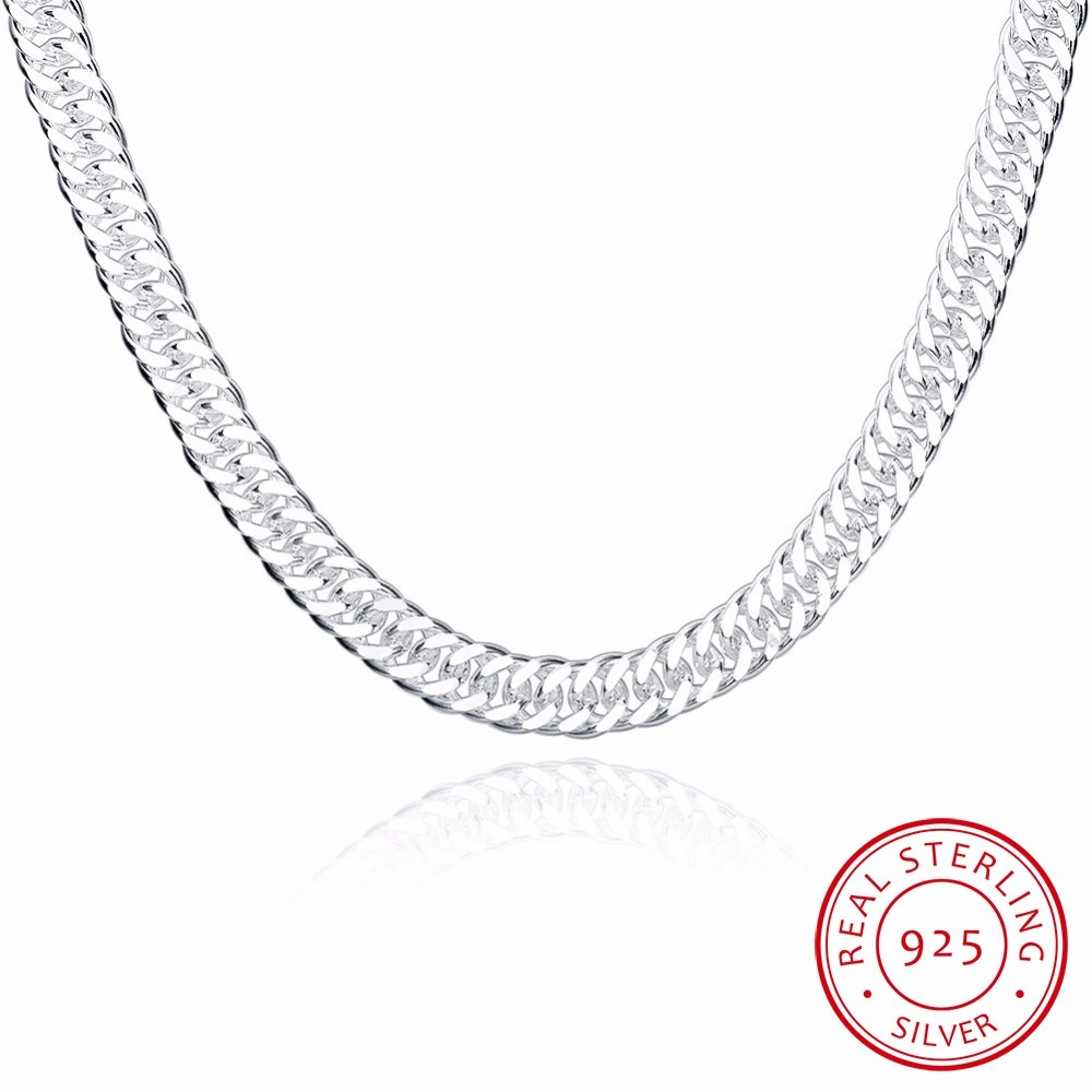 High Quality 10mm 20'' 50cm Men Necklace 925 Silver Link Chain Necklaces For Male Jewelry Party Gift