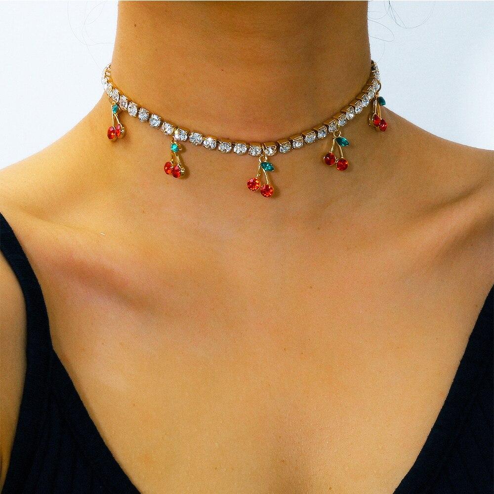 Glamour Lady Rhinestone Cherry Pendant Necklace Fashion Simple Rhinestone Cherry Pendant Necklace Girl Jewelry