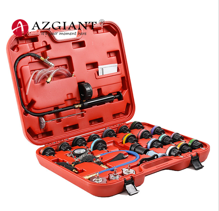 14/28pcs Universal Car Water Tank Leak Detection Detector Tool Radiator Water Pressure Tester Auto Cooling Coolant Vacuum Purge