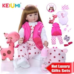 KEIUMI Wholesale Silicone Reborn Babies Doll 60 cm Lifelike Princess Reborn Bonecas Girafa New Children's Day Luxury Sets Gifts