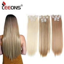 Leeons extensores de cabelo reto longo, 16 cores 16 grampos extensões sintéticos grampos em fibra de alta temperatura, peruca castanho preta