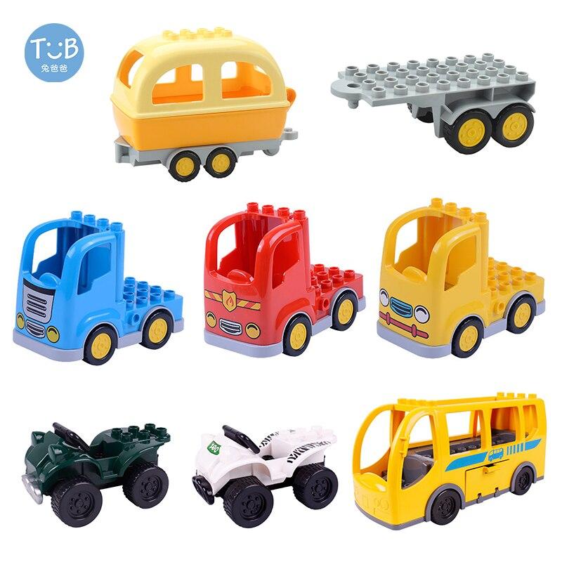 Brick Blocks Cartoon Car Offroad Truck Bread Trailer Bus Model Accessories Big Size Bricks Brick Children Educational Toys