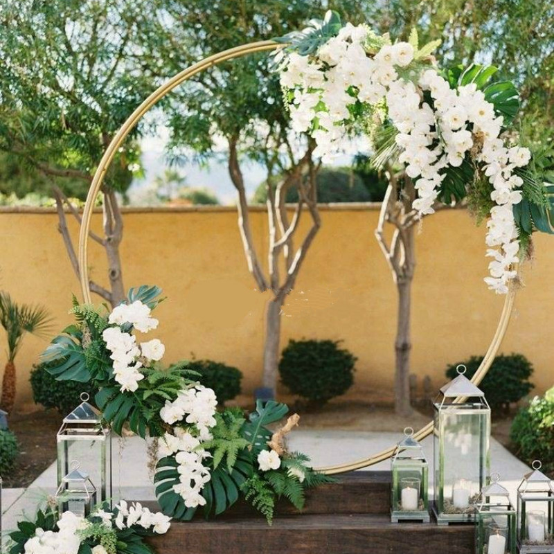 wedding : 1M 2M Circle Wrought Iron Gold Shelf Wedding Arch Background Decorative Props DIY Party Stage Setting Shelf Flower with Frame