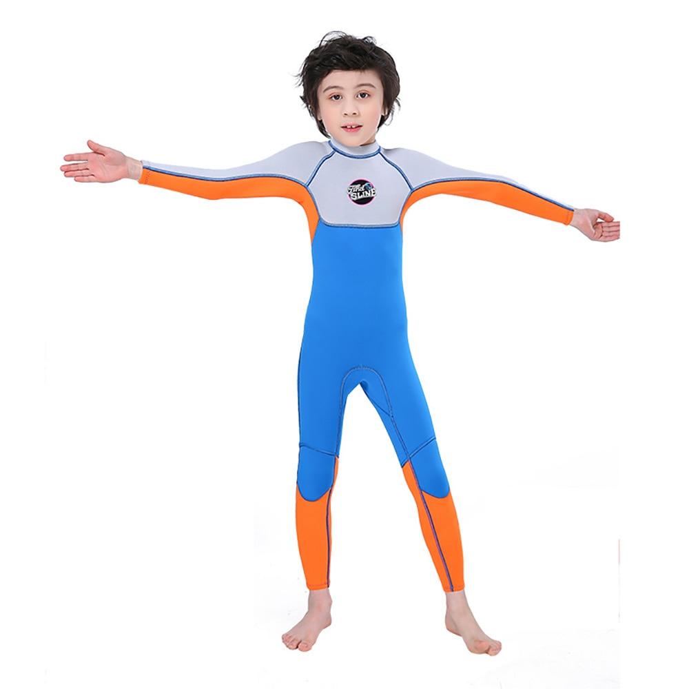 2.5MM Neoprene Children's Sunscreen Swimsuit One-Piece Long-Sleeved Snorkeling Suit Boys Jumpsuit Wetsuit