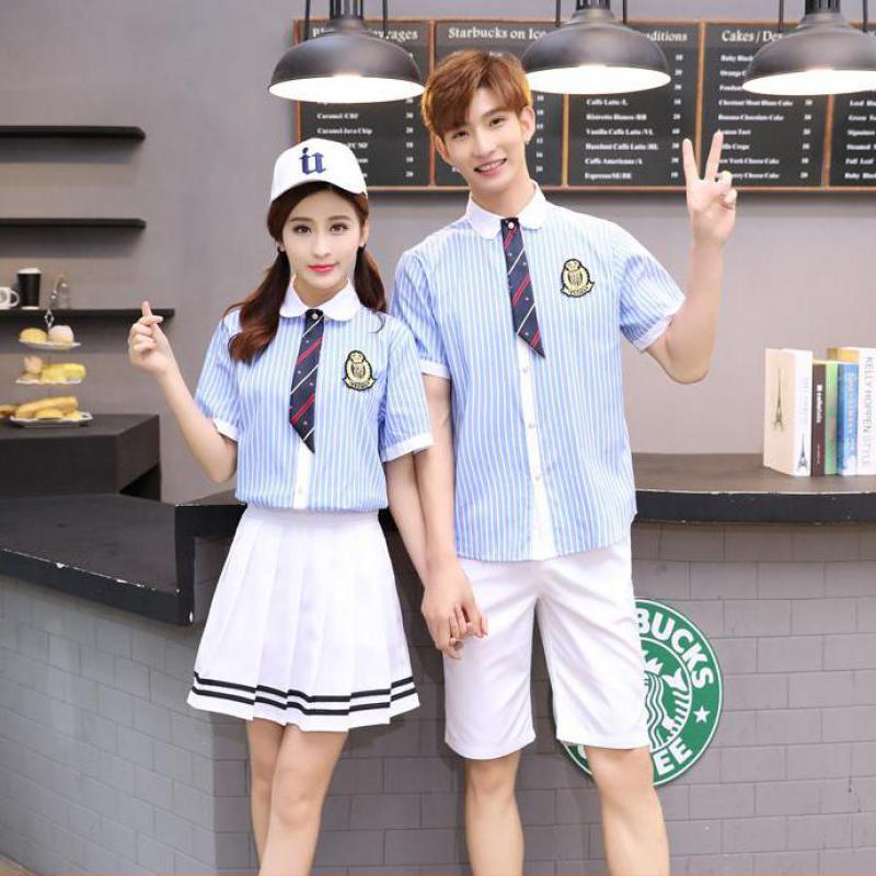 Korean School Uniform Girls Jk Navy Sailor Suit For Women/men Japanese School Uniform Cotton Blue Shirt +plaid Skirt+men Shorts