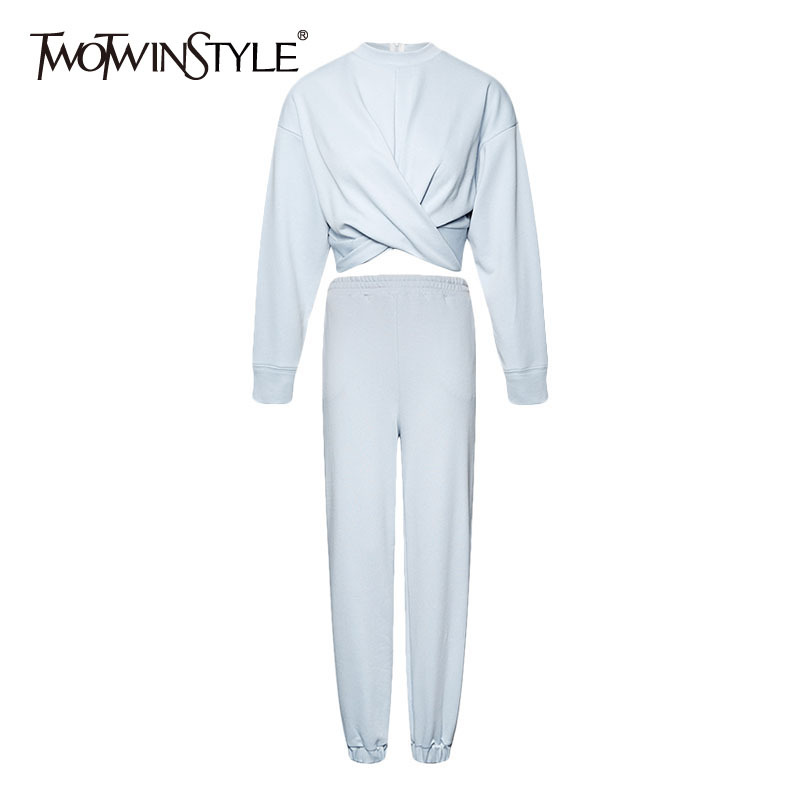 TWOTWINSTYLE Casual Two Piece Set For Women O Neck Long Sleeve Cross Sweatsuits Long Wide Leg Pants Loose Sets Female 2020 New