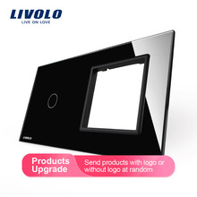 Livolo Luxury White Pearl Crystal Glass, 151mm*80mm, EU standard, 1Gang &1 Frame Glass Panel, VL-C7-C1/SR-11 (4 Colors)