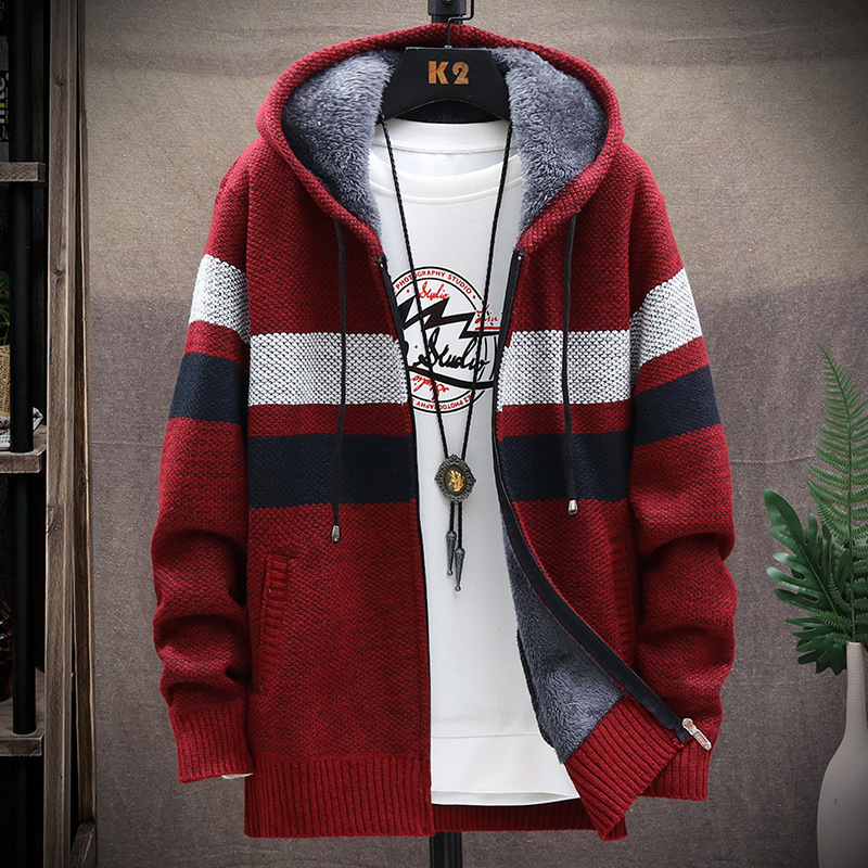 Winter Fleece Warm Sweater Men Hooded Cardigan Mens Striped Patchwork Slim Sweaters Coat Knitted Men's Christmas Jumper Clothing 4
