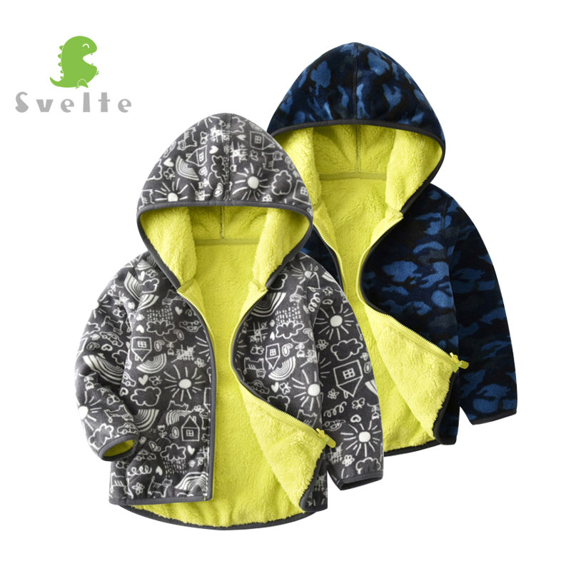 SVELTE Fall Winter For Children Boys' Thick Fur Soft Fleece Gray Graffiti Hoody Printed Blue Camo Hooded Jacket Coat Clothing