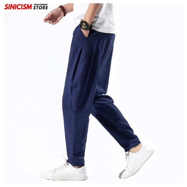 Sinicism Store Solid Spring Harem Pants Men Summer Fitness Jogger Pant 2020 Male Fashion Pants Chinese Style Trousers Bottoms 34