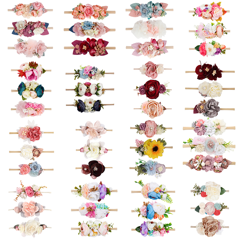 3Pcs/Set Baby Flower Headband With High Elastic Nylon Band Artificial Floral Hair Band Wholesale Bebe Headwear Hair Accessories