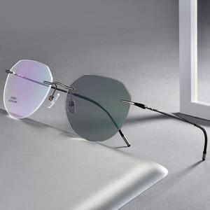 Image 1 - Rimless Photochromic Myopia Glasses Women Men Nearsighted Pilot Sunglasses Travel Driving Eyeglasses 0, 1.0~ 6.0 N5