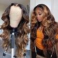 Wigirl 4/27 Бразильский цвет Омбре волна тела длинные безклеевые 13X6 кружевные передние человеческие волосы парики с предварительно выщипанной ...