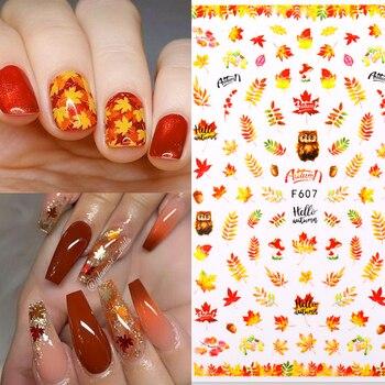 1 Uds hojas de otoño pegatinas de Arte de uñas oro amarillo hoja de arce 3D calcomanías para arte de uñas DIY Decoraciones y diseños