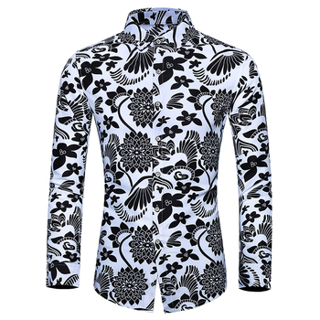 plus size social mens dress shirts retro floral slim fit casual blouse men s clothing linen shirts men new 2019 quality hawaiian shirts plus size 7xl floral print mens fashion dress shirts men slim fit casual regular shirts