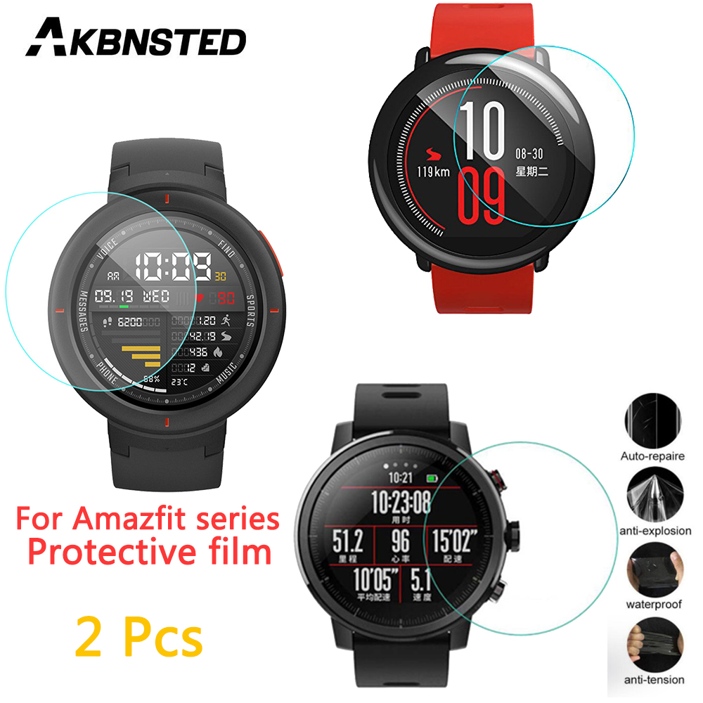 AKBNSTED 2Pcs Tempered Glass Full Screen HD Protector Film Cover For Xiaomi Huami Amazfit Stratos 3/2/Pace/Verge/GTR Smart Watch