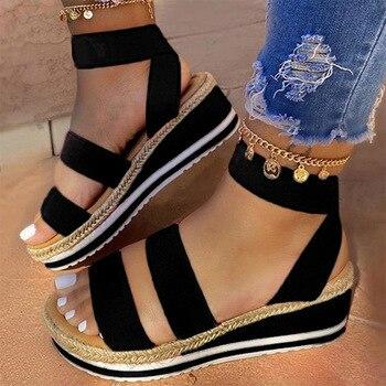 Летние босоножки женские туфли на танкетке, на платформе, Дамская обувь из пенькового волокна текстильной туфли конфетного Цвет на каждый д...