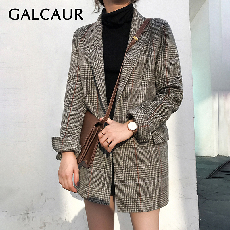 GALCAUR Vintage Plaid Female Blazers Notched Long Sleeve Pocket Plus Size Casual Long Blazers For Women 2019 Autumn Fashion New
