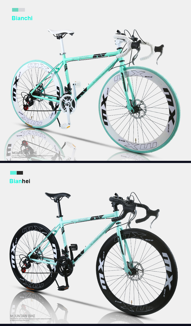 24 Speed Road Bike 26 Inch Fixed Gear Bicycle Double Disc Brake for Adult Racing