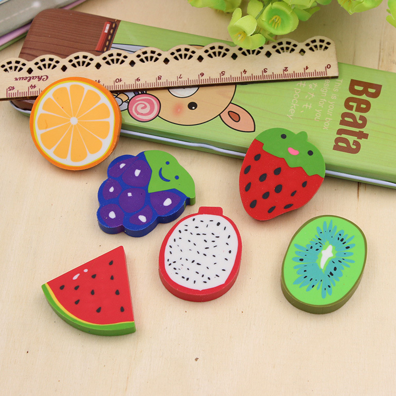 P173 South Korea Stationery Watermelon And Other 6 Kinds Of Fruit Rubber Eraser Students Prizes Gift Creative Cute Single Pack