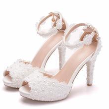 Women Shoes White Sweet Lace Flower Wedding Shoes Woman Fish