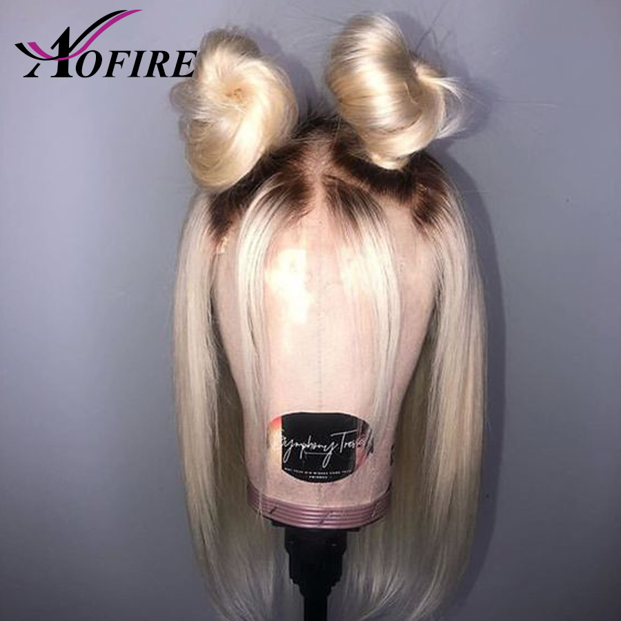 Ombre 1B 613 Blonde Lace Front Wig Pre Plucked With Baby Hair Brazilian Remy Human Hair Wigs  Short Bob Wigs For Blank Women