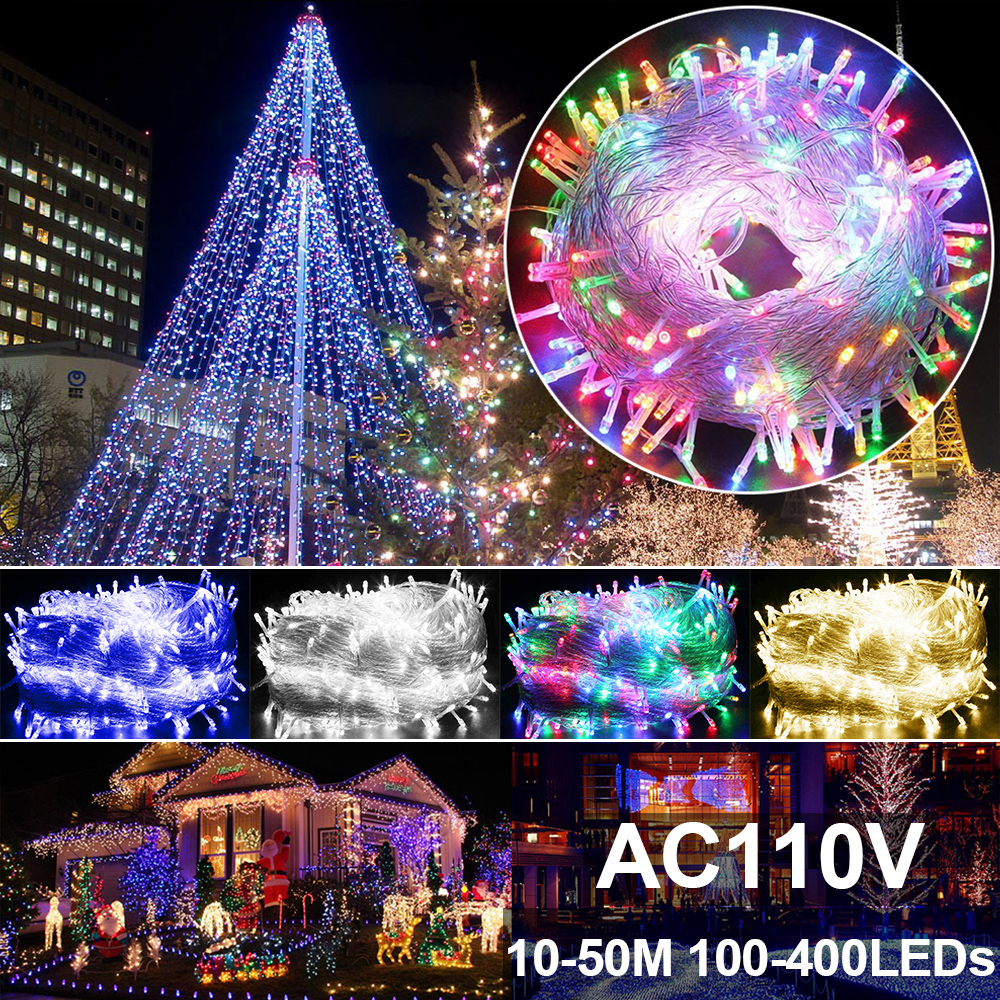 Sale AC 110V 10M-50M LED Festival Led Christmas Decor Light Outdoor 100-400 LEDs String Lights Decoration Party Holiday Q0