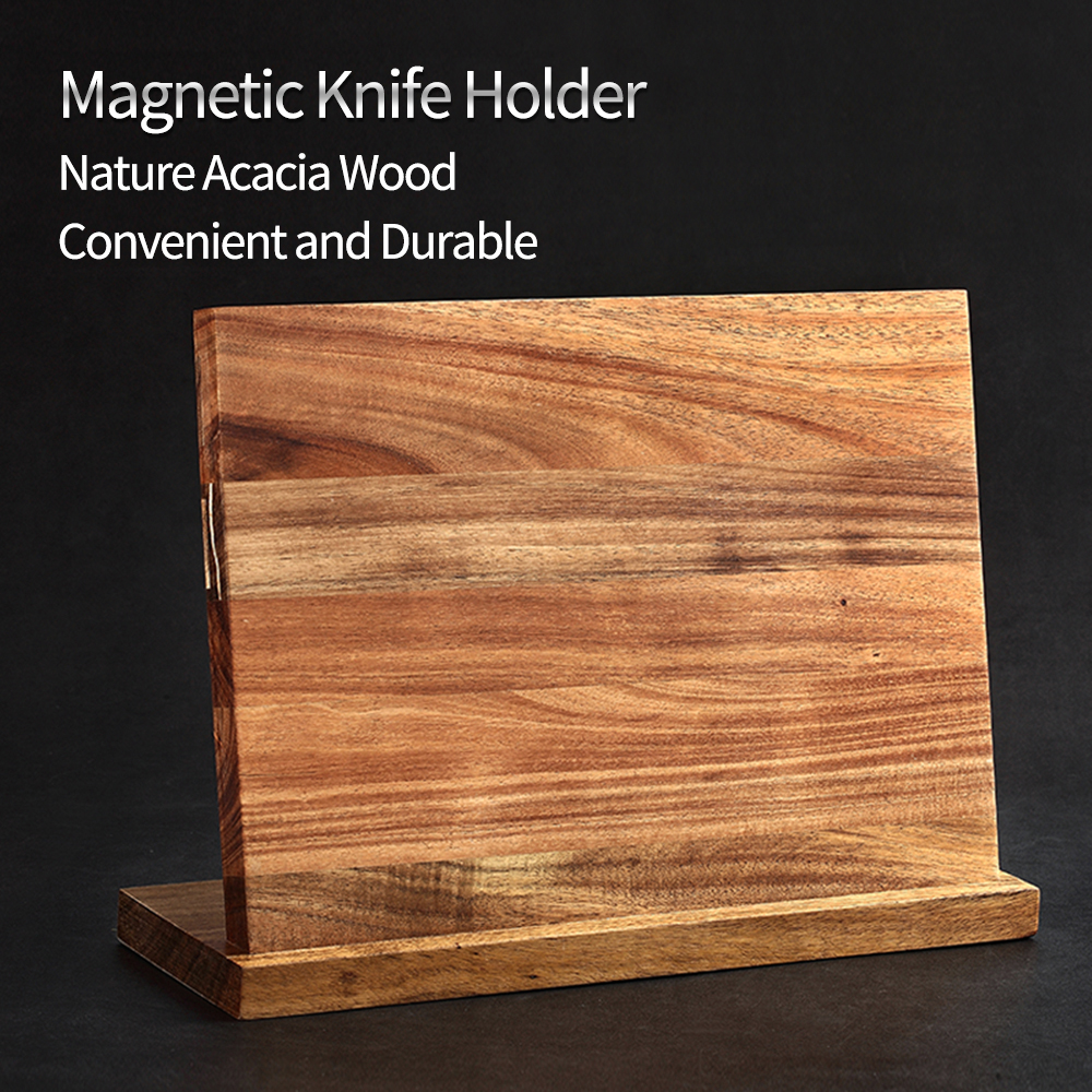 XINZUO High Quality Acacia Wood Magnetic Knife Holder Knife Block Knife Stand Storage Organizer For Knives Set