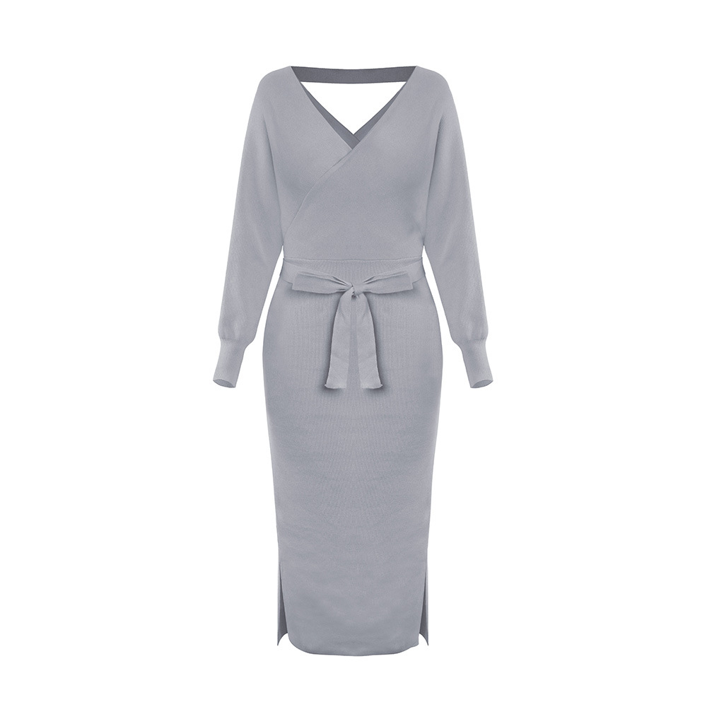 Long Sleeve V Neck With Cross Belt Sweater Knitted Dress 25