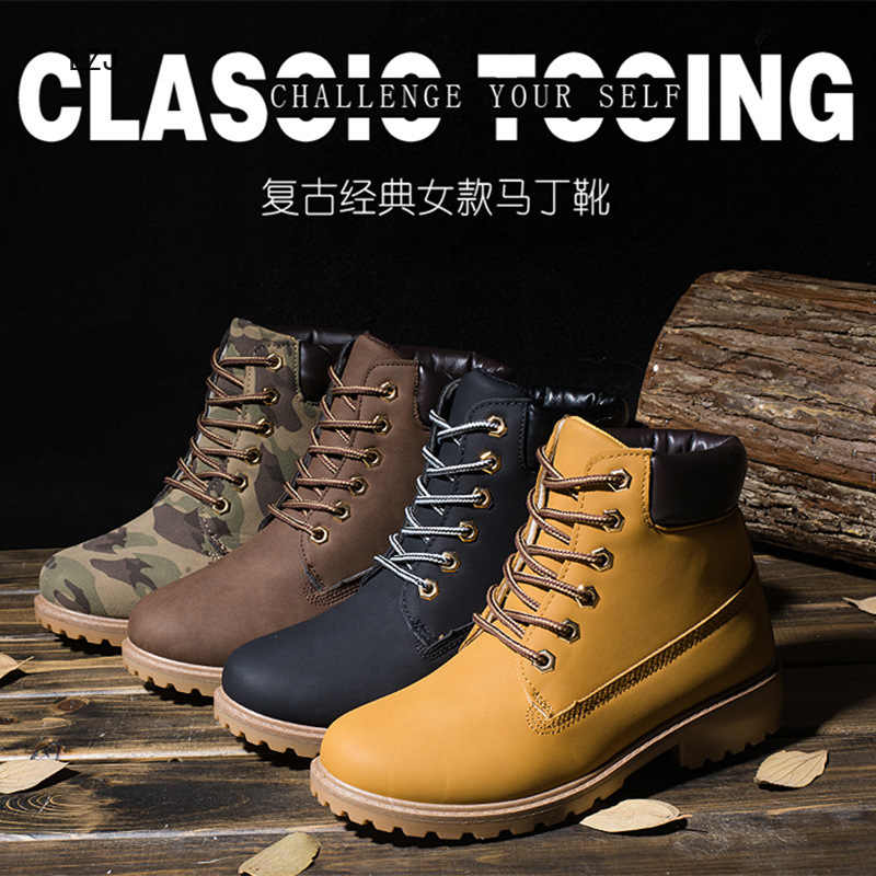 LZJ 2019 Da PU Nữ Giày Bốt Martin Mùa Đông Giày Mắt Cá Chân Giày Boot Nữ Tuyết Giày Công Sở Cặp Đôi Mẫu Giày Plus Kích Thước 36-46