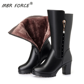 MBR FORCE Wool Snow Boots Women Fur Warm Shoes Plush mid-calf Boots Fashion Zipper Warm Genuine Leather Women Winter Boots Black asumer new arrive youth fashion height increasing mid calf boots for women high quality pu soft leather winter warm snow boots