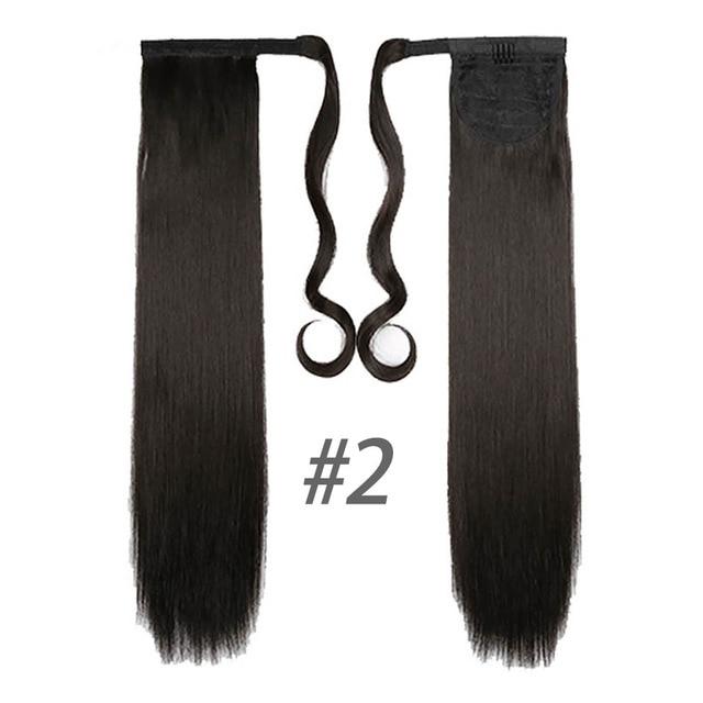 HOUYAN 24 дюймов длинные толстые прямые волосы кудрявые волосы синтетические волокна конский хвост обернутый парик длинный парик конский хвост парик - Цвет: 2