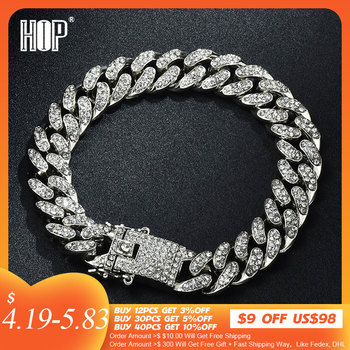 Hip Hop Bling Iced Out Mens Rapper Bracelet Full Rhinestone Pave With Butterfly Miami Cuban Link Chain for Men Jewelry
