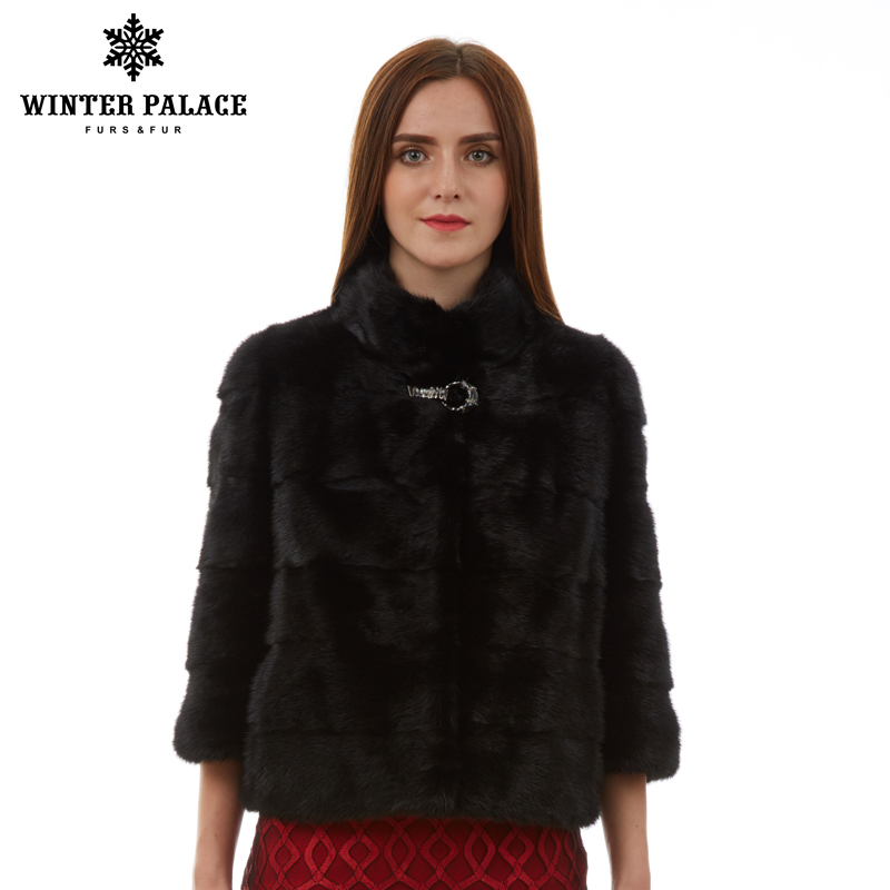 Natural Women Fur Coat Fashion Slim Jacket Mink Fur Coat Short-sleeve Fur Vest  Short Genuine Fur Coat Mandarin Collar