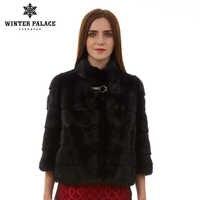 Naturale donne cappotto di pelliccia di Modo Sottile giacca di pelliccia di visone cappotto del Bicchierino-manicotto gilet di pelliccia Corta di pelliccia genuino del cappotto Mandarino collare
