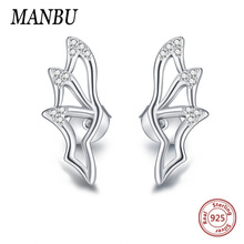 цена MANBU New arrival Bat wings 925 sterling silver earrings for women  pave setting CZ Stud Earrings fashion wedding jewelry gift в интернет-магазинах