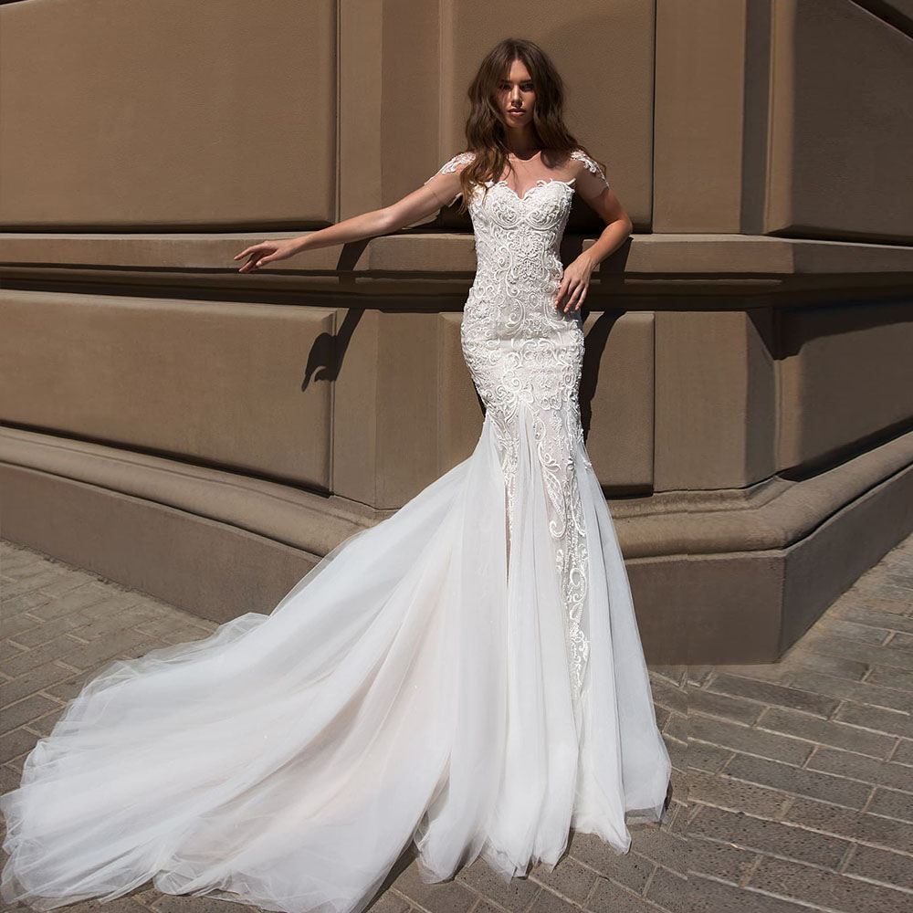 Elegant Mermaid Wedding Dresses Boho Vestido De Novia Sirena Sexy Open Back Short Sleeve Beading Sequined Lace Slim Bride Gowns