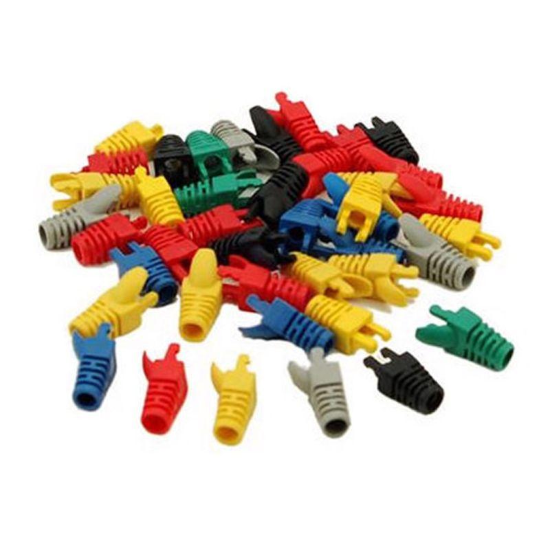 50Pcs/lot Mix Colors RJ45 Network Cable Plug Boots Connectors Cap Cat5 Cat6  Drop Shipping