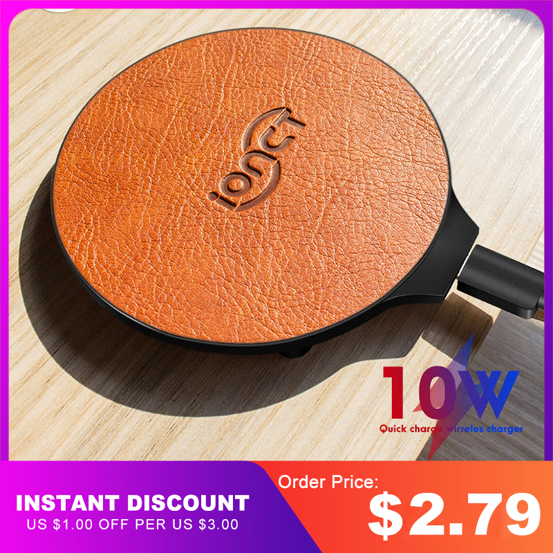 iONCT 10W Fast Wireless Charger for iPhone 11 pro X XR XS wirless Charging for Samsung phone USB qi charger wireless leather pad