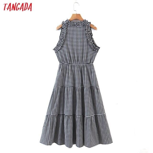 Tangada 2021 Fashion Women Plaid Print Tassel Dress Sleeveless Female Casual Midi Dress 8H72 6