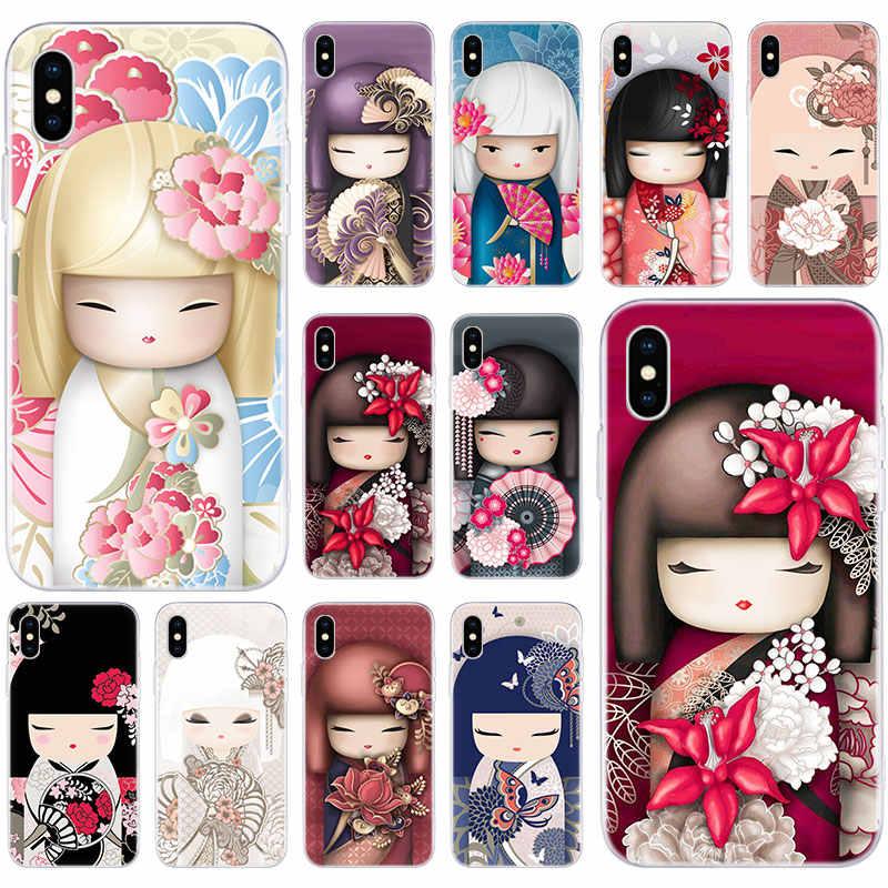 Funda de silicona suave kawaii japonesa Kokeshi para Apple iPhone 11 Pro XS MAX X XR 7 8 Plus 6 6s Plus 5 5S SE