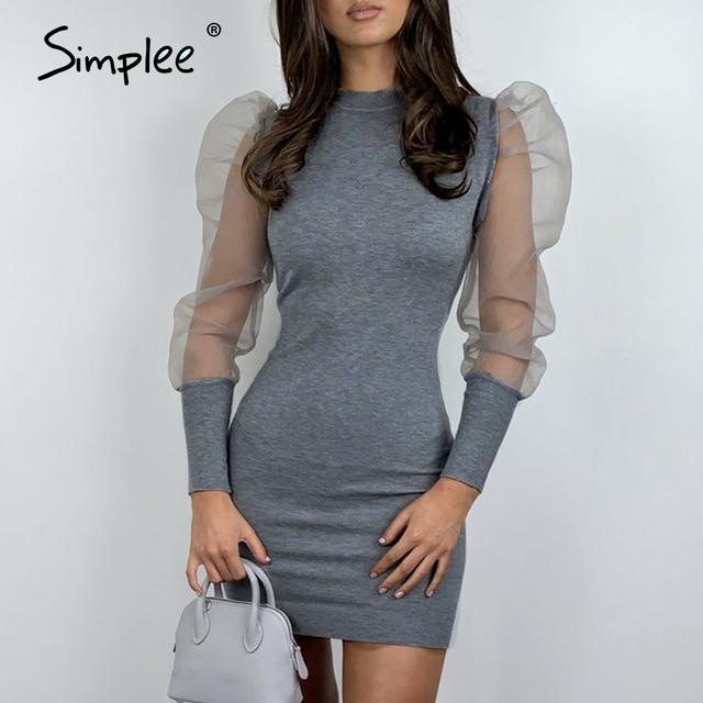 Simplee Women hollow out party dress Puff sleeve solid plus size sheath bodycon dress Elegant night club o neck mini dress 2020